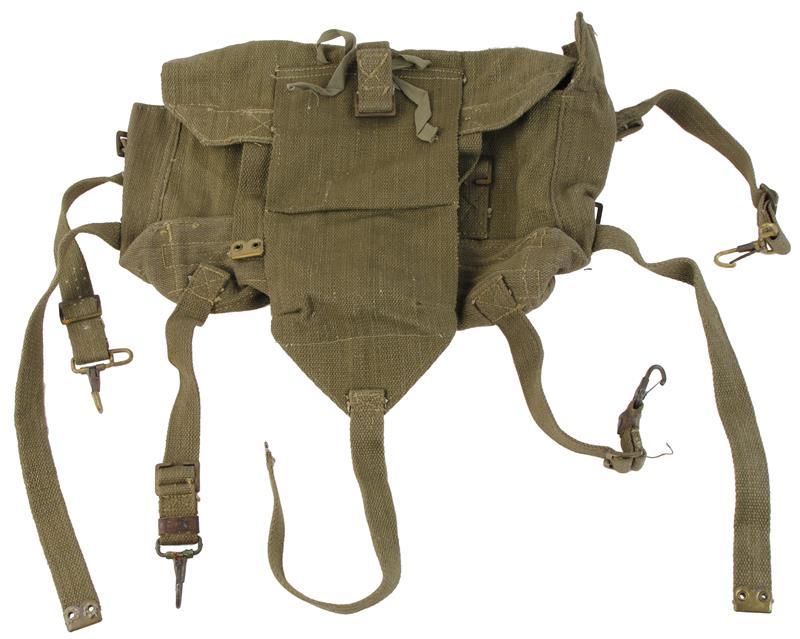 British Web Backpack, 4 Pocket Interior, Rigging Hardware w/Snap Hooks, Used