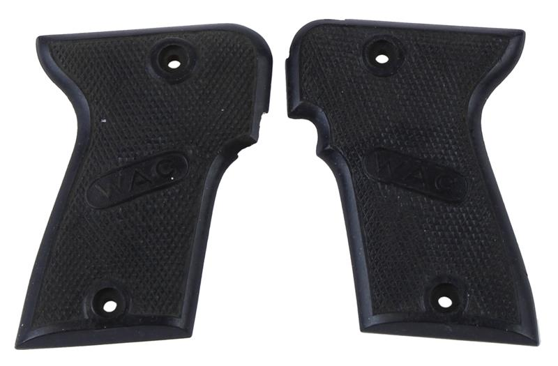 Grips, Checkered Black Plastic, WAC in Oval Logos, Used Factory Original