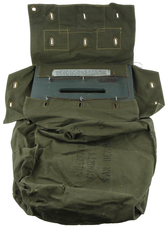 Ballot Bag w/Locking Rod, OD Green Canvas, Used