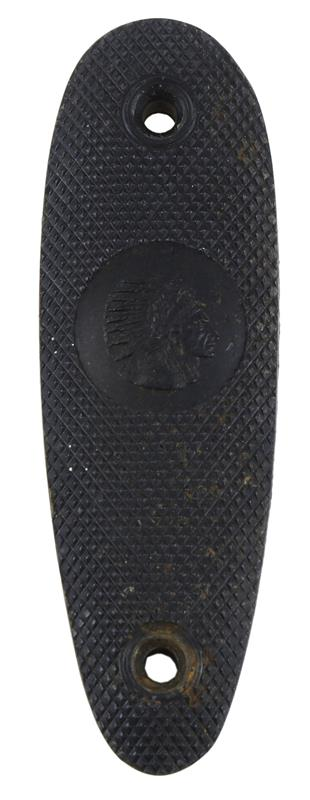 Buttplate, Diagonally Checkered Black Plastic w/Indian Head in Oval,Used Factory