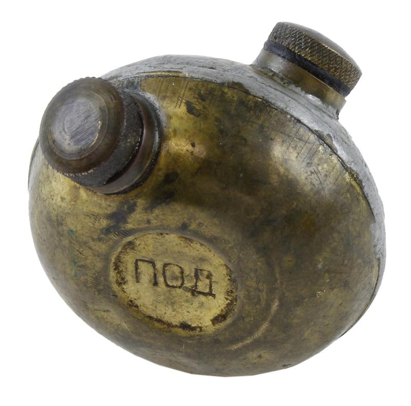 Oil Bottle, 2 Spout, Metal, Tin Plated, WWII Russian, Used