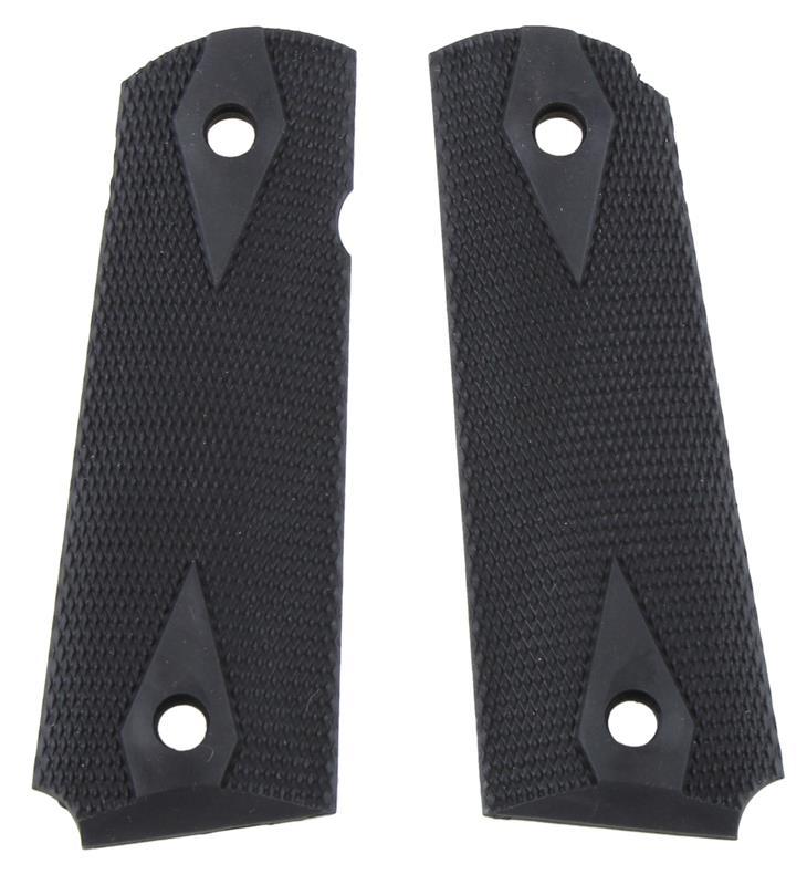 Grips, Checkered Black Rubber w/Diamonds Around Screw Holes, Used Pearce Mfg