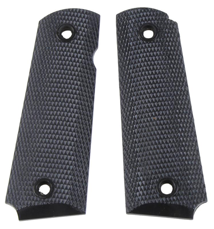 Grips, Full Size, Black Checkered Plastic, Used Reproduction