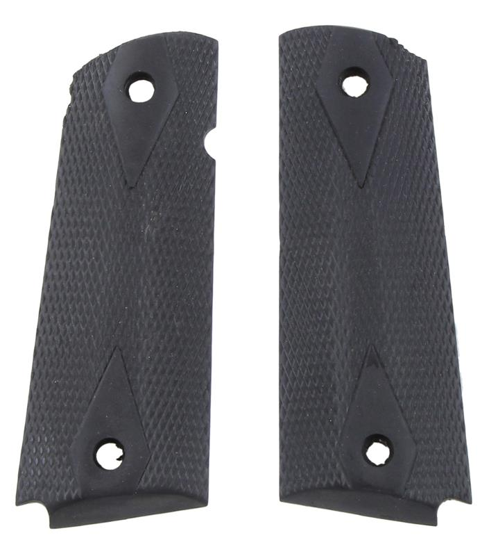 Grips, Full Size, Black Checkered Rubber, Used Factory Original