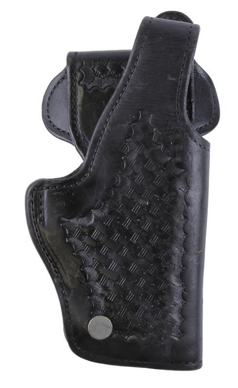 Holster, RH, Davis Leather Mfg, Open Bottom, 4500 Basketweave, Black Leather, Used