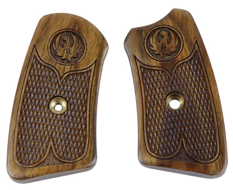 Grip Panel Inserts, Checkered Walnut, New Factory Original (For Fixed Sight)