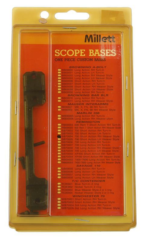 Scope Bases, RH, SA, Weaver Style, Matte Black, New Millett Mfg