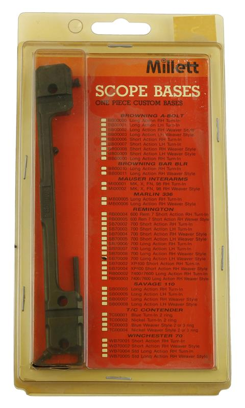 Scope Base, LH, LA, 1 Pc, Weaver Style, Matte Black, New Millett Mfg