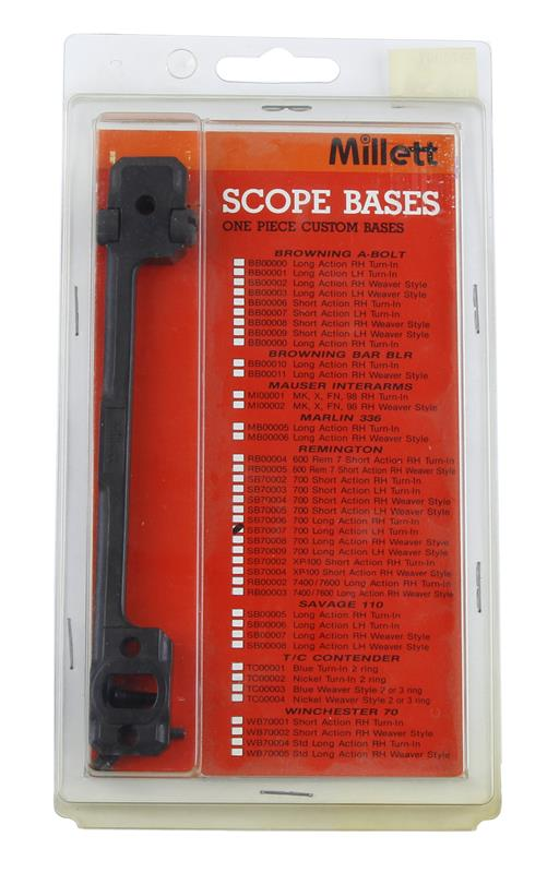 Scope Base, LH, LA, 1 Pc, Matte Black, New Millett Mfg