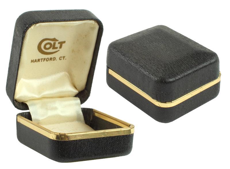 Colt Lapel Pin Box, Black w/ Gold Trim, New Factory (Marked Colt Hartford CT)