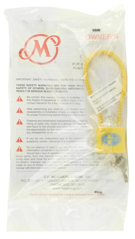 Cable Lock & Owners Manual Set, New (Maverick Models 88 & 91)