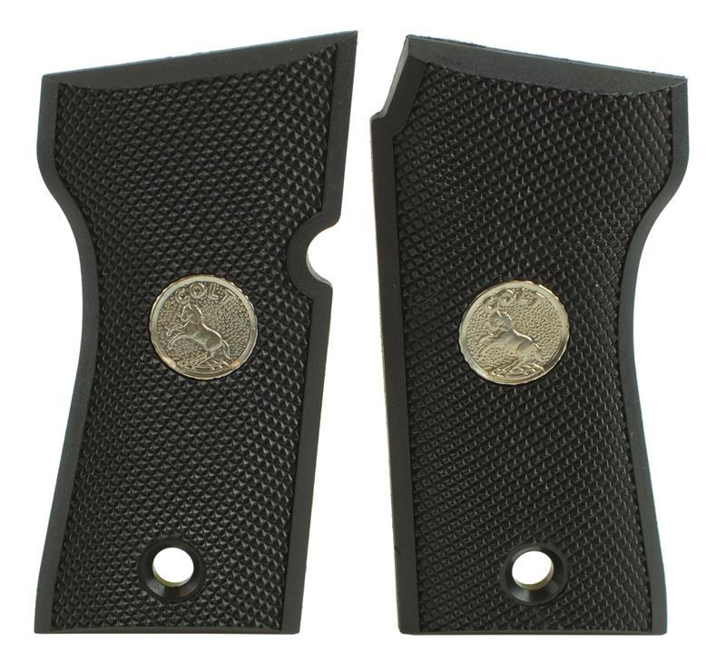 Grips, Black Checkered Polymer w/ Silver Colt Medallion, New Factory Original
