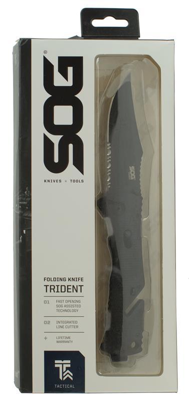 Knife, Trident Folding, Black Tini Finish, 8.5