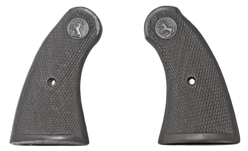 Grips, Wide Square Butt, Black Hard Rubber, New Reproduction