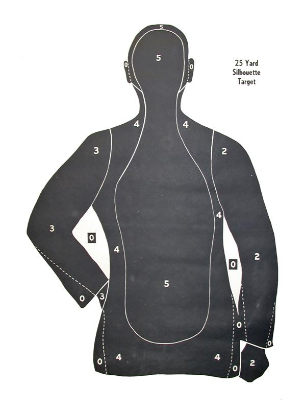 Target, Combat 25 Yard Silhouette - Authentic Police Agency Targets. Pack of 10.