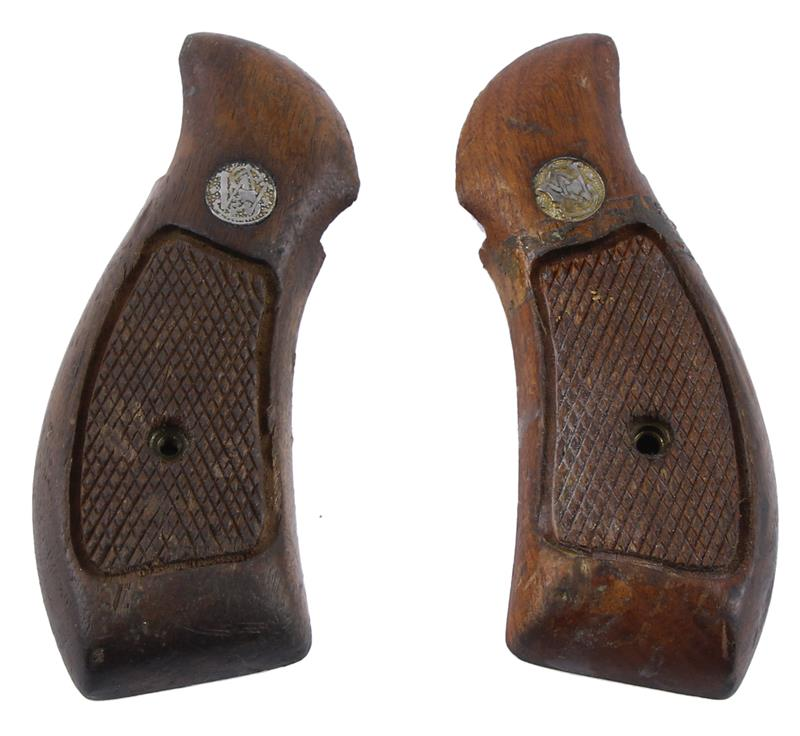 Grips, Round Butt, Service, Checkered Walnut, Functional Used Factory Original