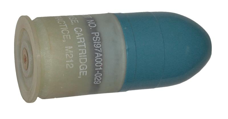 Dummy Round, 40mm-Orig. M212 Practice Grenade Cases w/Weighted Blue Plastic Head