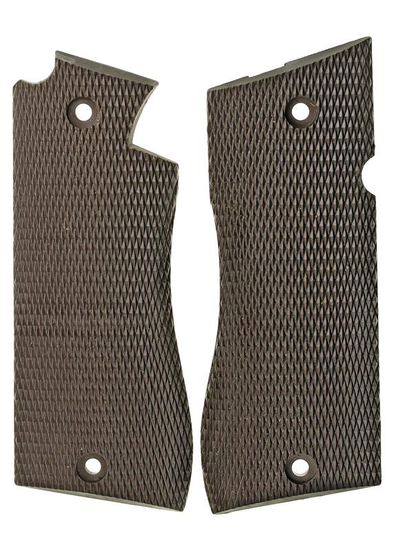 Grips, 9mm, Checkered Brown Plastic, Factory Original