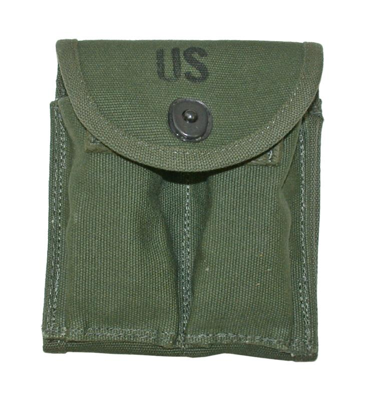 Magazine Pouch, Olive Drab Canvas (Stock Type; Holds Two 15 Round Magazines)