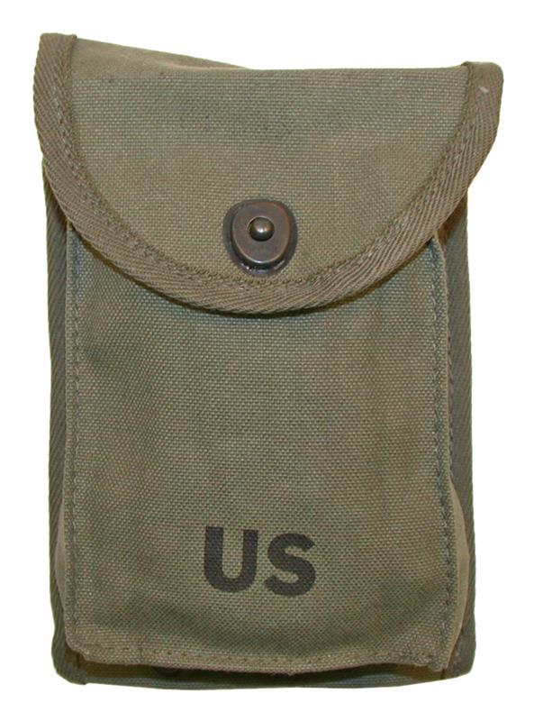 Magazine Pouch, OD Canvas, 4 Pocket, New (Belt-Type; Holds Four 30 Round Mags)