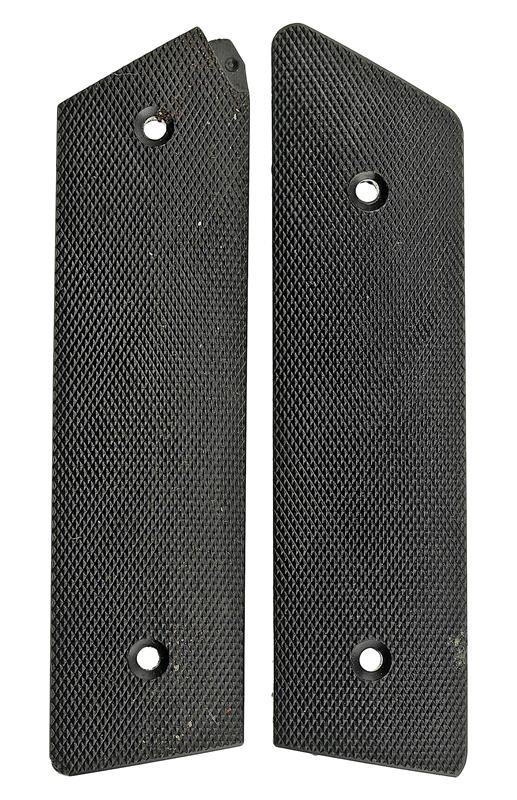 Grips, Checkered Black Plastic, Factory