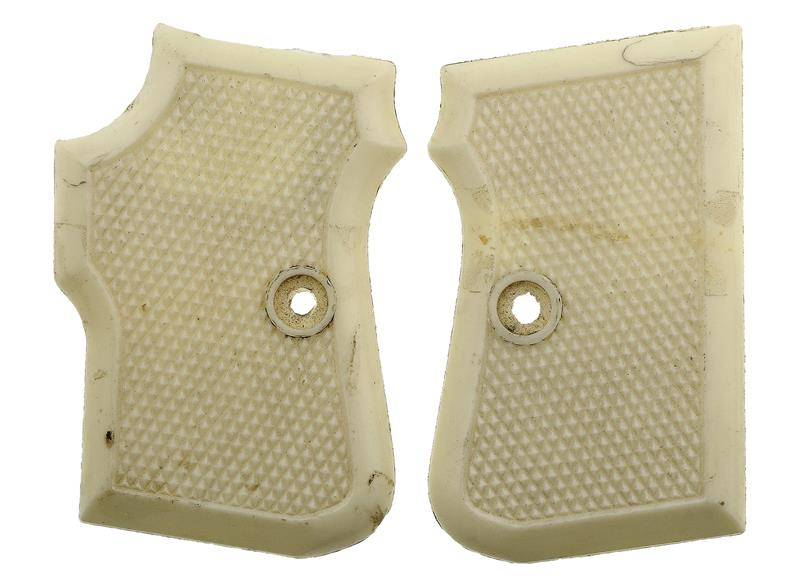 Grips, White, Checkered Plastic, Used Factory Original