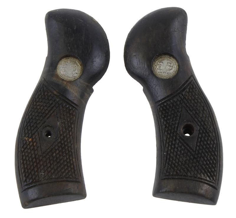 Grips, Checkered Walnut, W/Medallion, Used Factory Original