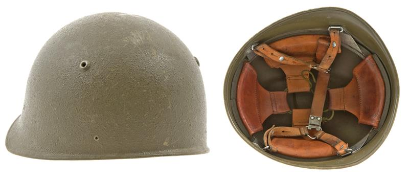 Swiss M71 Army Helmet, OD Steel w/ Leather Suspension & Chin Strap, 1970s Issue
