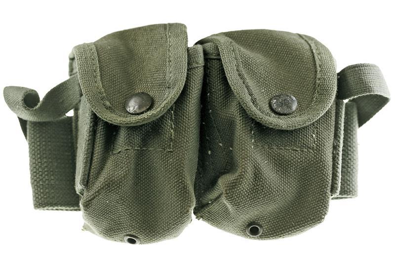 Dual Clip Pouch, Heavy OD Canvas w/ Flap Closure, Unmarked Greek Army Surplus