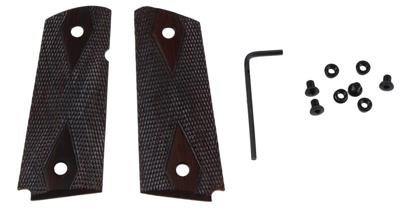 Grips, Ultra Thin Checkered Diamond Rosewood w/ Ambidextrous Safety Cut