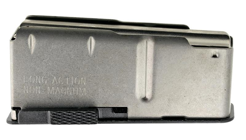 Magazine, Long Action, 4 Round, Stainless, New (w/ Blued Floorplate; Factory)