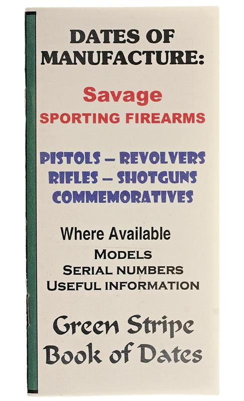Savage Dates Of Manufacture Booklet, 23 Pages