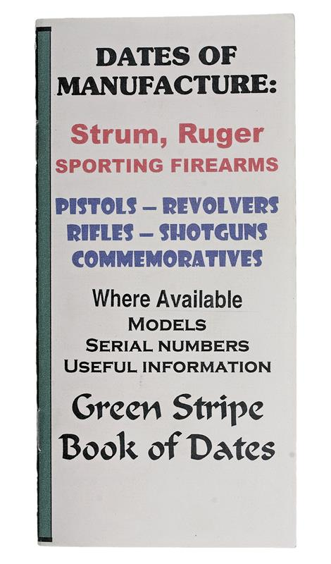 Ruger Dates Of Manufacture Booklet, 16 Pages