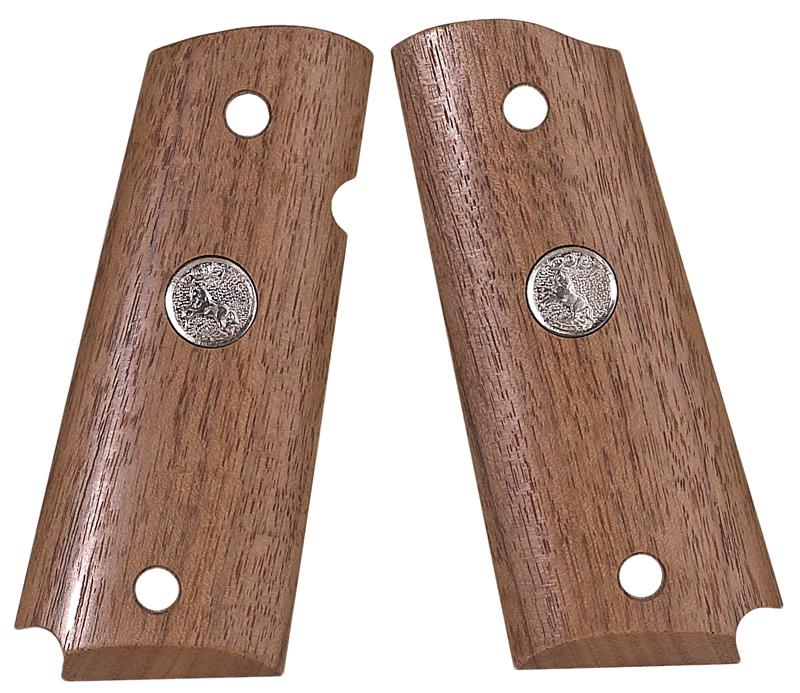 Grips w/ Silver Medallion, Smooth Walnut