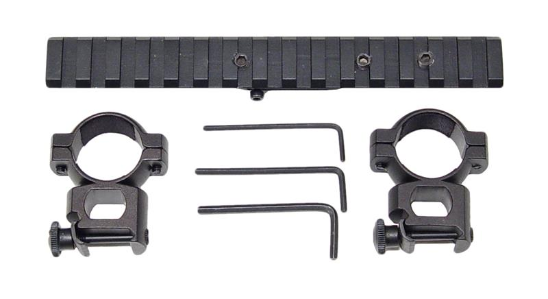 Scope Mount & Rings, Black Anodized Aluminum, New Reproduction (Weaver Style)
