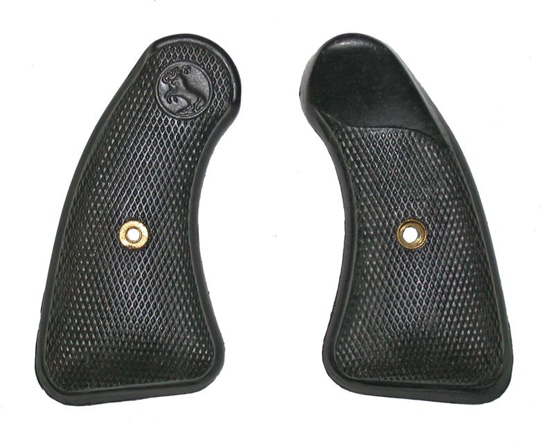 Grips, Round Butt, Checkered Black Plastic w/ Molded Colt Emblem