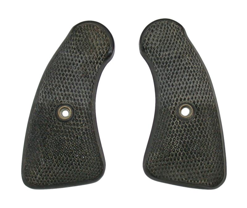 Grips, Round Butt, Black Plastic Checkered w/o Medallion - Very Good To Exc Cond