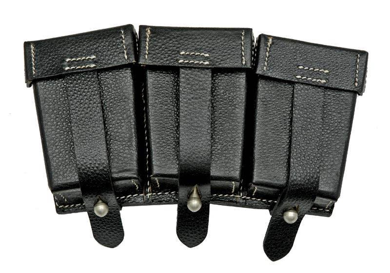 Ammo Pouch, Three Pocket Reproduction, Leather, 98K