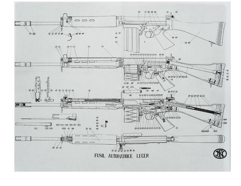 Exploded View Drawing, FN FAL Light Automatic Rifle, New