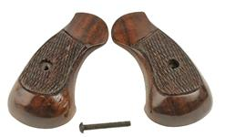 Grips, Round Butt, Brown Checkered Wood, Used Factory Original