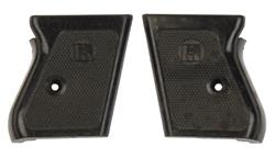Grips, Checkered Black Plastic w/Square Owl Logo, Used, Original