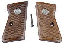 Grips, Checkered Walnut, New Reproduction (w/ Sile Medallions & Screw)
