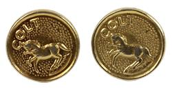 Grip Medallions, Gold (Pair; w/Colt Horse Logo; For All Factory Made Colt Grips)